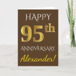[ Thumbnail: Brown, Faux Gold 95th Wedding Anniversary + Name Card ]