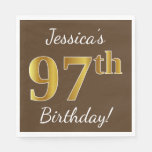 [ Thumbnail: Brown, Faux Gold 97th Birthday + Custom Name Napkin ]