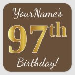 [ Thumbnail: Brown, Faux Gold 97th Birthday + Custom Name Sticker ]