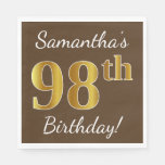 [ Thumbnail: Brown, Faux Gold 98th Birthday + Custom Name Paper Napkin ]