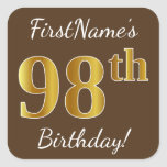 [ Thumbnail: Brown, Faux Gold 98th Birthday + Custom Name Sticker ]