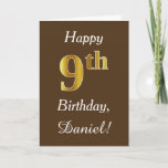 [ Thumbnail: Brown, Faux Gold 9th Birthday + Custom Name Card ]