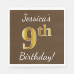 [ Thumbnail: Brown, Faux Gold 9th Birthday + Custom Name Paper Napkin ]