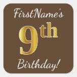 [ Thumbnail: Brown, Faux Gold 9th Birthday + Custom Name Sticker ]