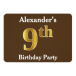 [ Thumbnail: Brown, Faux Gold 9th Birthday Party; Custom Name Invitation ]