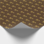[ Thumbnail: Brown, Faux Gold 9th (Ninth) Event Wrapping Paper ]