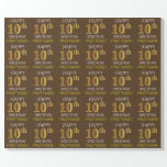 """[ Thumbnail: Brown, Faux Gold """"Happy 10th Birthday"""" Wrapping Paper ]"""