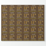 """[ Thumbnail: Brown, Faux Gold """"Happy 11th Birthday"""" Wrapping Paper ]"""