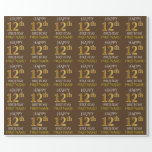 """[ Thumbnail: Brown, Faux Gold """"Happy 12th Birthday"""" Wrapping Paper ]"""