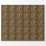 """[ Thumbnail: Brown, Faux Gold """"Happy 13th Birthday"""" Wrapping Paper ]"""