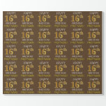 """[ Thumbnail: Brown, Faux Gold """"Happy 16th Birthday"""" Wrapping Paper ]"""