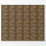 """[ Thumbnail: Brown, Faux Gold """"Happy 17th Birthday"""" Wrapping Paper ]"""