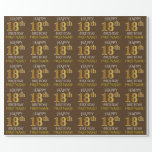 """[ Thumbnail: Brown, Faux Gold """"Happy 18th Birthday"""" Wrapping Paper ]"""