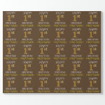 """[ Thumbnail: Brown, Faux Gold """"Happy 1st Birthday"""" Wrapping Paper ]"""