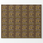 """[ Thumbnail: Brown, Faux Gold """"Happy 21st Birthday"""" Wrapping Paper ]"""