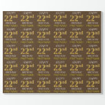 """[ Thumbnail: Brown, Faux Gold """"Happy 22nd Birthday"""" Wrapping Paper ]"""