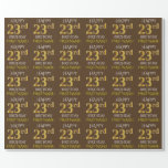 """[ Thumbnail: Brown, Faux Gold """"Happy 23rd Birthday"""" Wrapping Paper ]"""