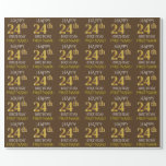 """[ Thumbnail: Brown, Faux Gold """"Happy 24th Birthday"""" Wrapping Paper ]"""