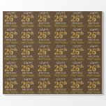 """[ Thumbnail: Brown, Faux Gold """"Happy 26th Birthday"""" Wrapping Paper ]"""