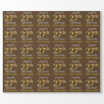 """[ Thumbnail: Brown, Faux Gold """"Happy 27th Birthday"""" Wrapping Paper ]"""