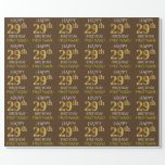 """[ Thumbnail: Brown, Faux Gold """"Happy 29th Birthday"""" Wrapping Paper ]"""