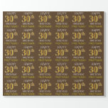 "[ Thumbnail: Brown, Faux Gold ""Happy 30th Birthday"" Wrapping Paper ]"