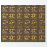 "[ Thumbnail: Brown, Faux Gold ""Happy 32nd Birthday"" Wrapping Paper ]"
