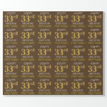 "[ Thumbnail: Brown, Faux Gold ""Happy 33rd Birthday"" Wrapping Paper ]"