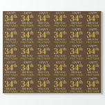 "[ Thumbnail: Brown, Faux Gold ""Happy 34th Birthday"" Wrapping Paper ]"