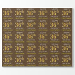 "[ Thumbnail: Brown, Faux Gold ""Happy 36th Birthday"" Wrapping Paper ]"