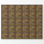 "[ Thumbnail: Brown, Faux Gold ""Happy 37th Birthday"" Wrapping Paper ]"