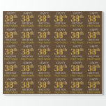"[ Thumbnail: Brown, Faux Gold ""Happy 38th Birthday"" Wrapping Paper ]"