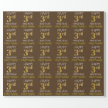 """[ Thumbnail: Brown, Faux Gold """"Happy 3rd Birthday"""" Wrapping Paper ]"""