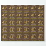 "[ Thumbnail: Brown, Faux Gold ""Happy 41st Birthday"" Wrapping Paper ]"