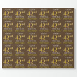 "[ Thumbnail: Brown, Faux Gold ""Happy 42nd Birthday"" Wrapping Paper ]"