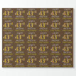"[ Thumbnail: Brown, Faux Gold ""Happy 43rd Birthday"" Wrapping Paper ]"