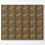 "[ Thumbnail: Brown, Faux Gold ""Happy 44th Birthday"" Wrapping Paper ]"