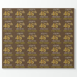 "[ Thumbnail: Brown, Faux Gold ""Happy 46th Birthday"" Wrapping Paper ]"