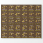 "[ Thumbnail: Brown, Faux Gold ""Happy 47th Birthday"" Wrapping Paper ]"