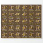 "[ Thumbnail: Brown, Faux Gold ""Happy 48th Birthday"" Wrapping Paper ]"