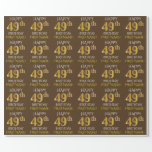 "[ Thumbnail: Brown, Faux Gold ""Happy 49th Birthday"" Wrapping Paper ]"