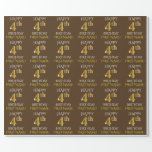 """[ Thumbnail: Brown, Faux Gold """"Happy 4th Birthday"""" Wrapping Paper ]"""