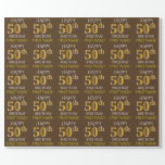 "[ Thumbnail: Brown, Faux Gold ""Happy 50th Birthday"" Wrapping Paper ]"