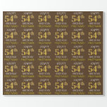 "[ Thumbnail: Brown, Faux Gold ""Happy 54th Birthday"" Wrapping Paper ]"