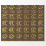 "[ Thumbnail: Brown, Faux Gold ""Happy 56th Birthday"" Wrapping Paper ]"