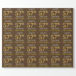 "[ Thumbnail: Brown, Faux Gold ""Happy 57th Birthday"" Wrapping Paper ]"