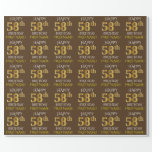 "[ Thumbnail: Brown, Faux Gold ""Happy 58th Birthday"" Wrapping Paper ]"