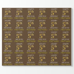"""[ Thumbnail: Brown, Faux Gold """"Happy 5th Birthday"""" Wrapping Paper ]"""
