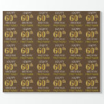 "[ Thumbnail: Brown, Faux Gold ""Happy 60th Birthday"" Wrapping Paper ]"