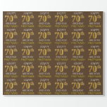 "[ Thumbnail: Brown, Faux Gold ""Happy 70th Birthday"" Wrapping Paper ]"